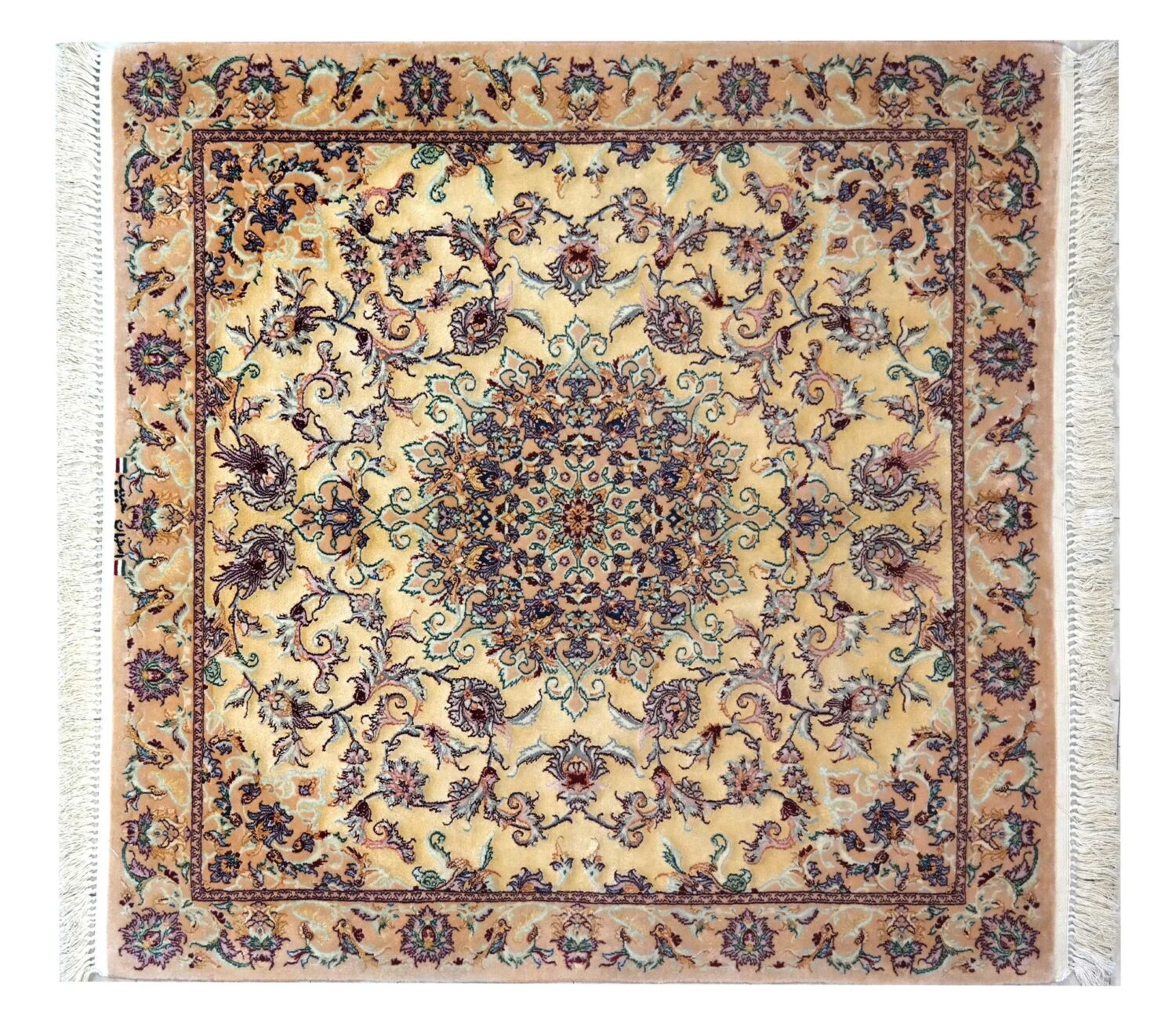 esfahan extra fine , weave and warp in silk , 100 x 100cm