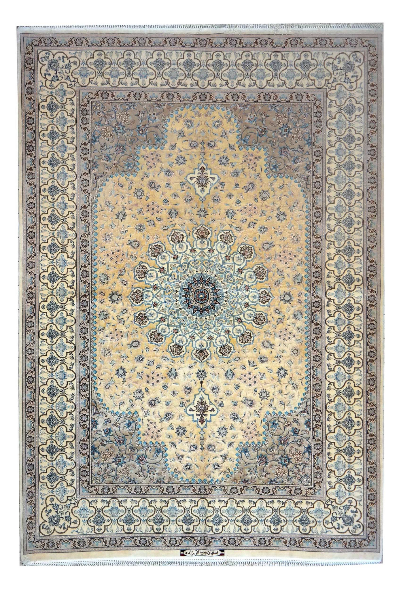 SAM_2041 esfahan extra fine silk background , weave and warp in silk, Rare example, Dimensions 225 x 154